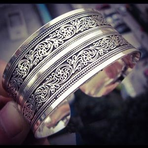 Sterling Silver Tibetan Totem Cuff Bangle Bracelet